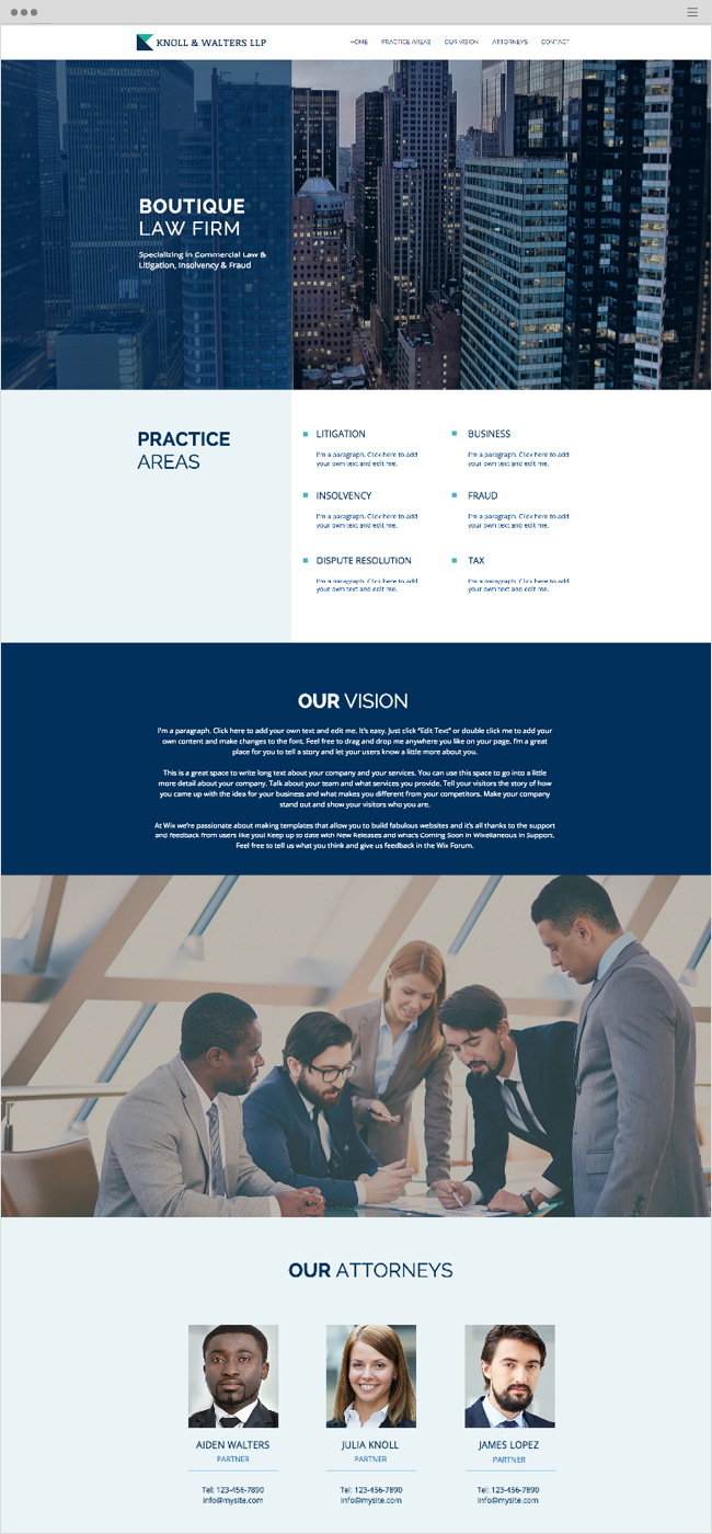 boutique law firm website template wix website templates