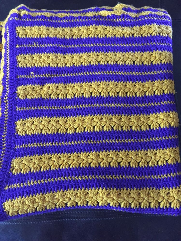 "Handmade Knitted Quilt 48' x 80"" Purple/Gold Handmade"