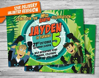Wild Kratts Invitation Birthday Party Invites Kratt Invitations Animals Printables Digital