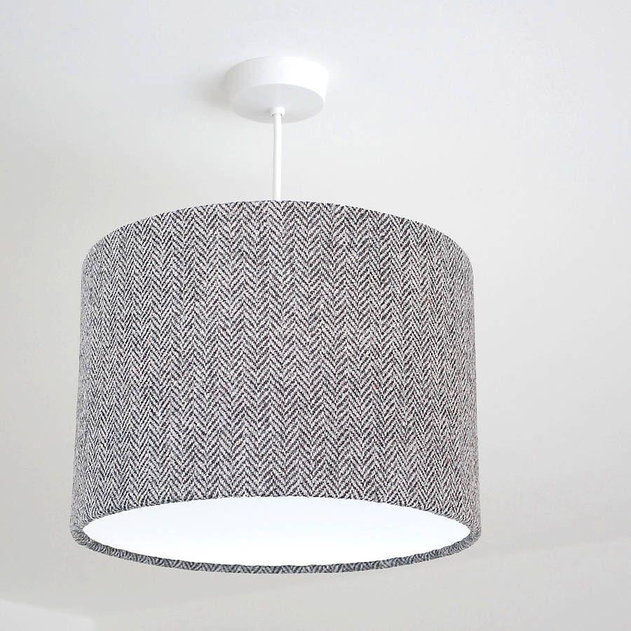 Lovely Dark Grey Herringbone Harris Tweed Lampshade
