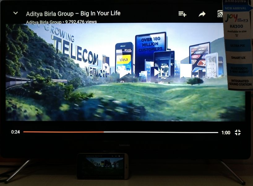 How To Wirelessly Mirror The Screen Of Your Lg G5 On The Samsung K4300 Joy Smart Tv Using Miracast Smart Tv Samsung Mirror