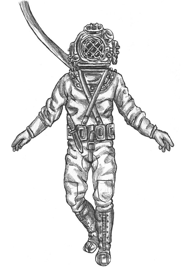 deep sea divers helmet tattoo design photo 1 real photo
