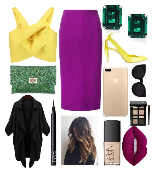 """""""Office work"""" by augusteee ❤ liked on Polyvore featuring Nicholas Kirkwood, Delpozo, Victoria Beckham, Anya Hindmarch, NARS Cosmetics, Lime Crime and Bobbi Brown Cosmetics"""