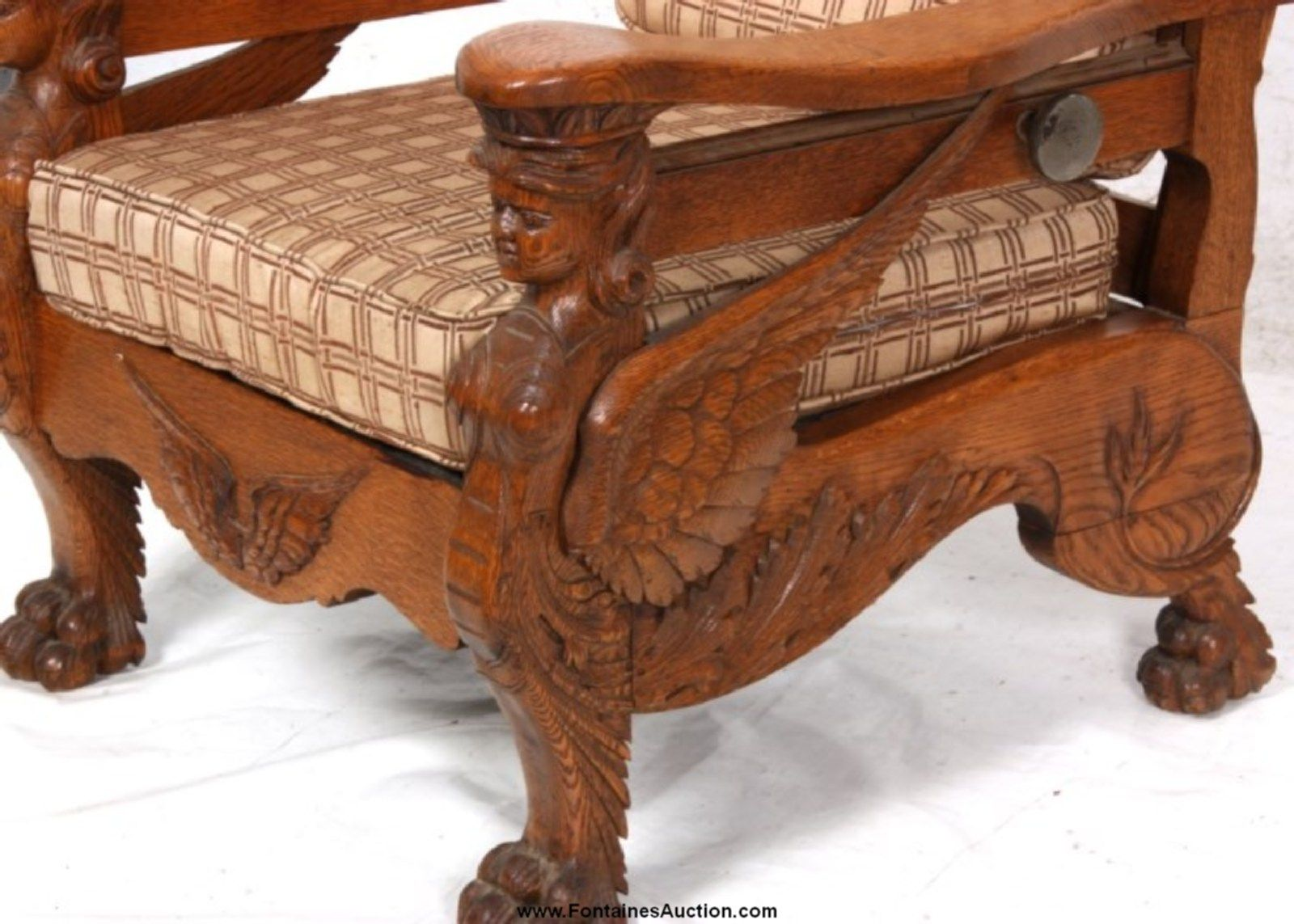 Antique morris chair - 13 Figural Carved Oak Morris Chair