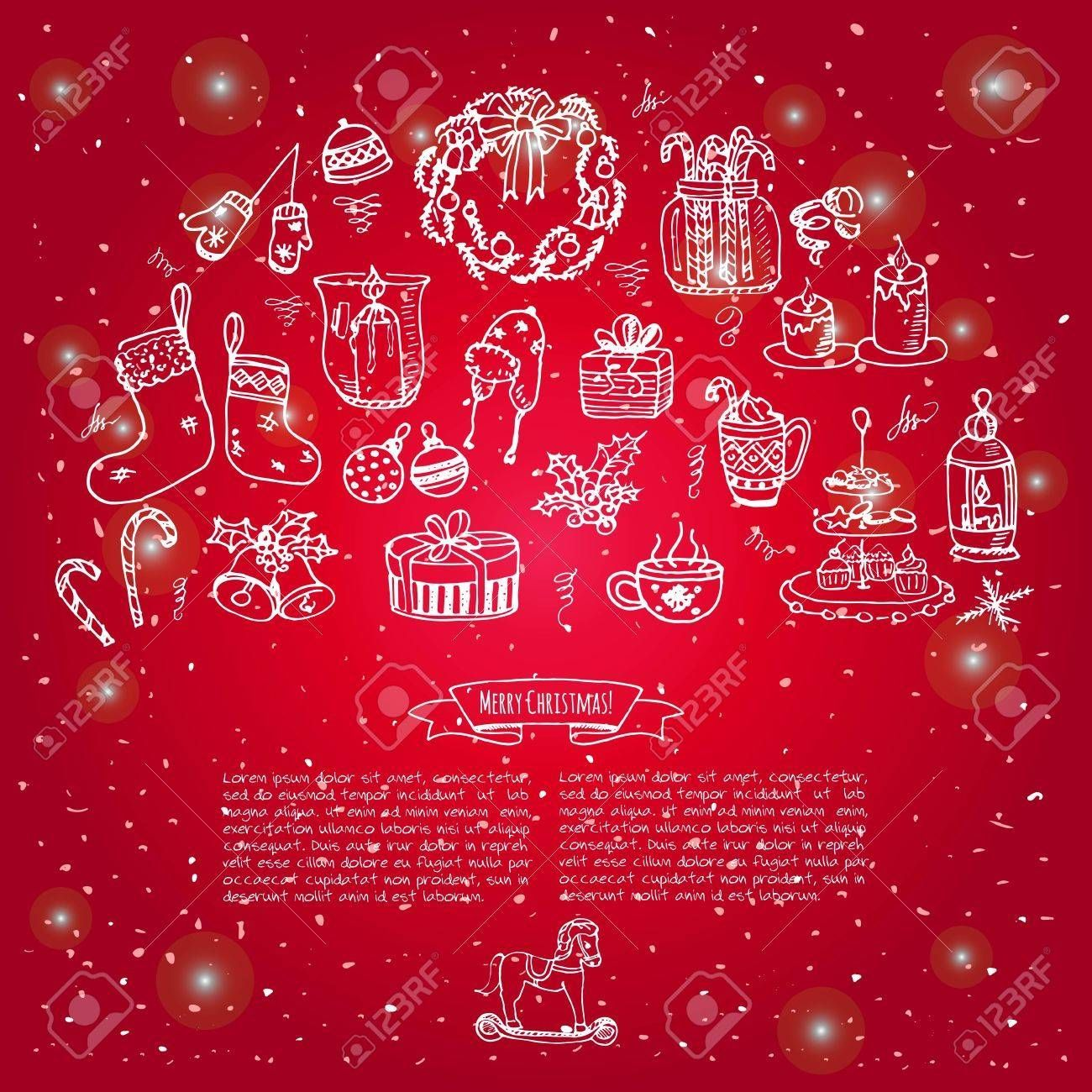 Set of hand drawn sketchy christmas elements Doodle vector