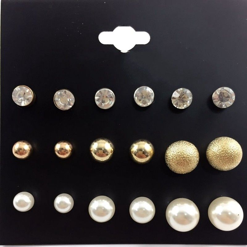3 pairs//set Cute Black//Gold//Silver color Bowknot Pearl Stud Earrings For Women