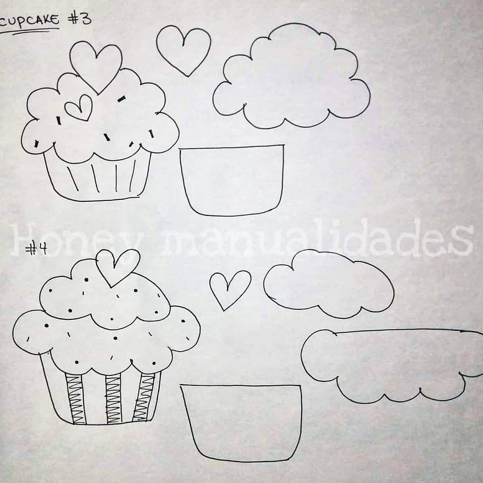 Molde Plantilla Cupcakes Moldes De Cupcakes Adornos Manuales Dibujos De Cupcakes