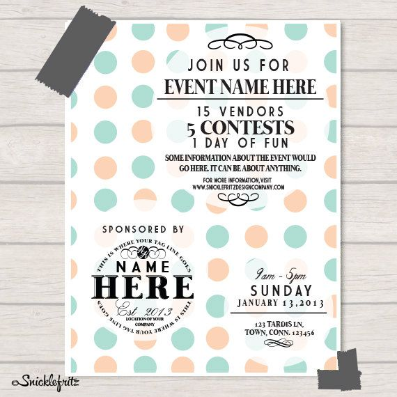 Simple Circle Event Flyer Personalized by SnicklefritzDesignCo ...