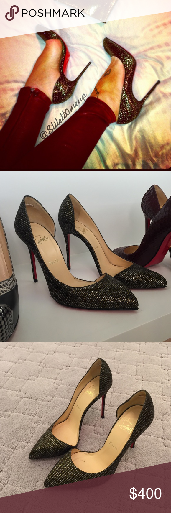 669fcb0db9da Christian louboutin sparkly heels 100mm Forgot the name of the style. Worn  once. Sparkly black sequin with gold threading. Size 39 Christian Louboutin  Shoes ...