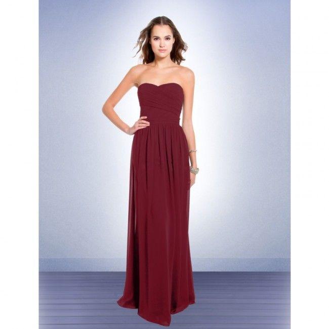 Stylish Chiffon Sheath/Column Strapless Summer Sleeveless Ruching Empire Burgundy Special Occasion Dresses