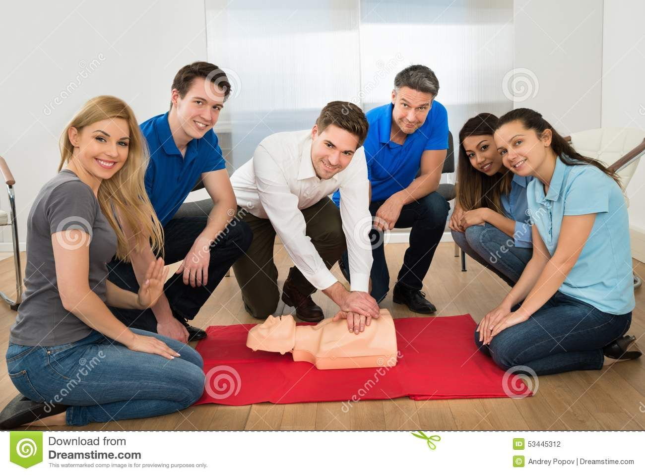 Resuscitation Training Using Firstaid Dummy Stock Photo