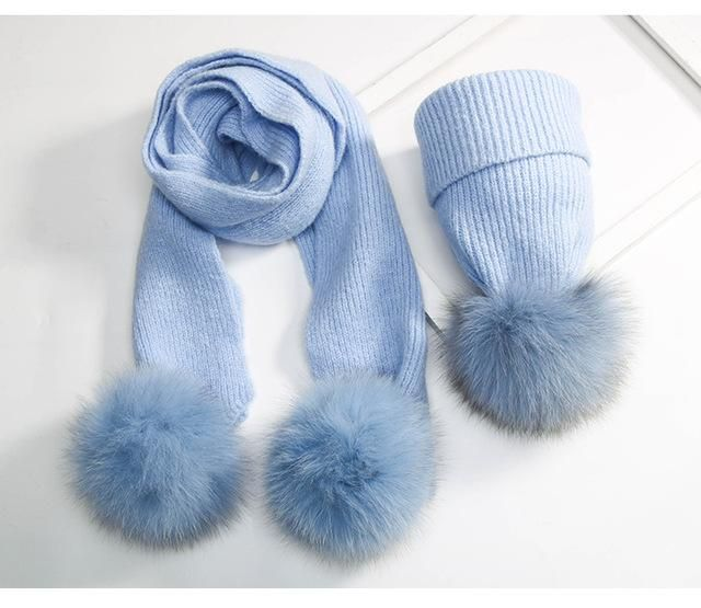 bcc3c712242 KNB024 Children s 100% Real Fox Fur Pom pom Knitted Beanie With Scarves  Sets Curled Knitted Hat New Warm Fur Ball Bonnet Cap