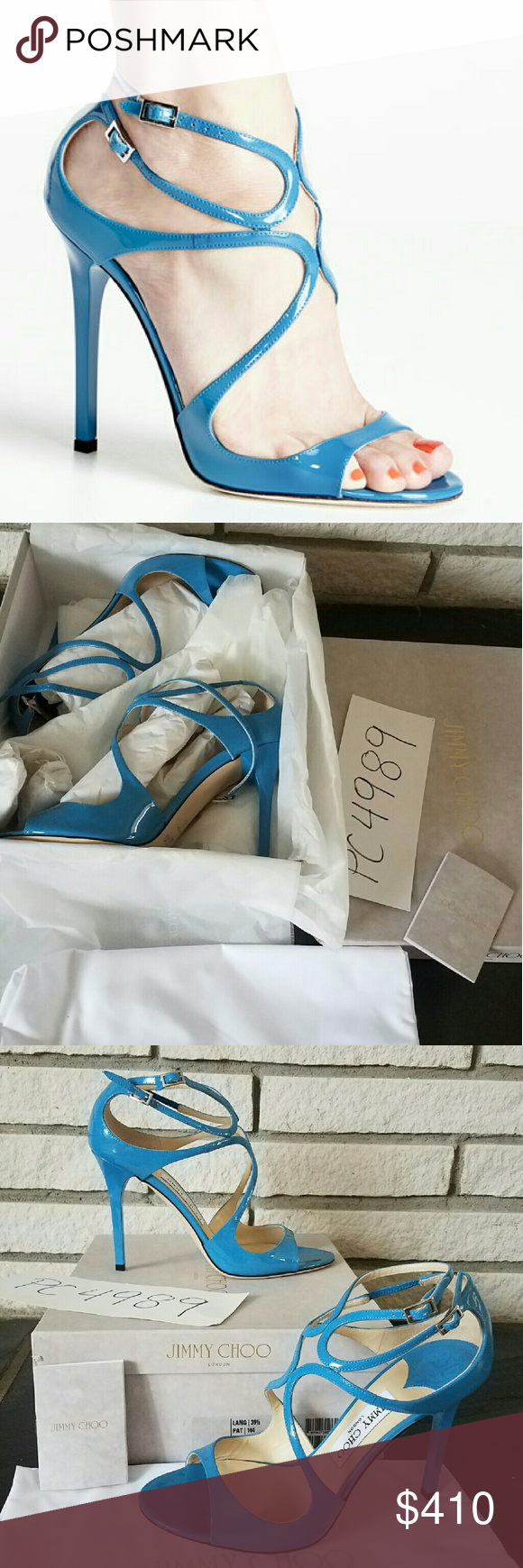 NWT Jimmy Choo LANG blue heels 39.5 US 9 9.5 absolutely authentic Jimmy Choo LANG blue robot color heels pumps size 39.5 US 9 9.65 complete with box, dust bag and if you need a copy of receipt can be provided upon request as a ultimate proof of purchase and authenticity!! Lang is the most known and iconic of jimmy choo style with its 4 inch heel its as comfortable as it is sexy,any questions just ask Jimmy Choo Shoes Heels