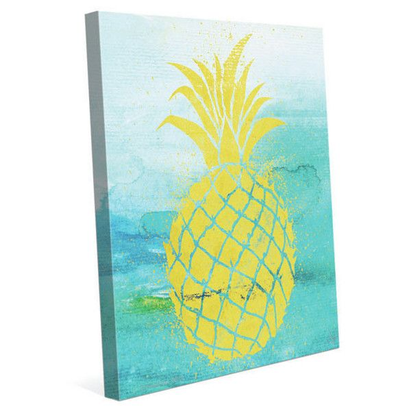 Tropical Pineapple By Hww Painting Print On Wrapped Canvas Reviews Liked On Polyvore Featuring Pineapple Painting Pineapple Wall Art Canvas Art Wall Decor