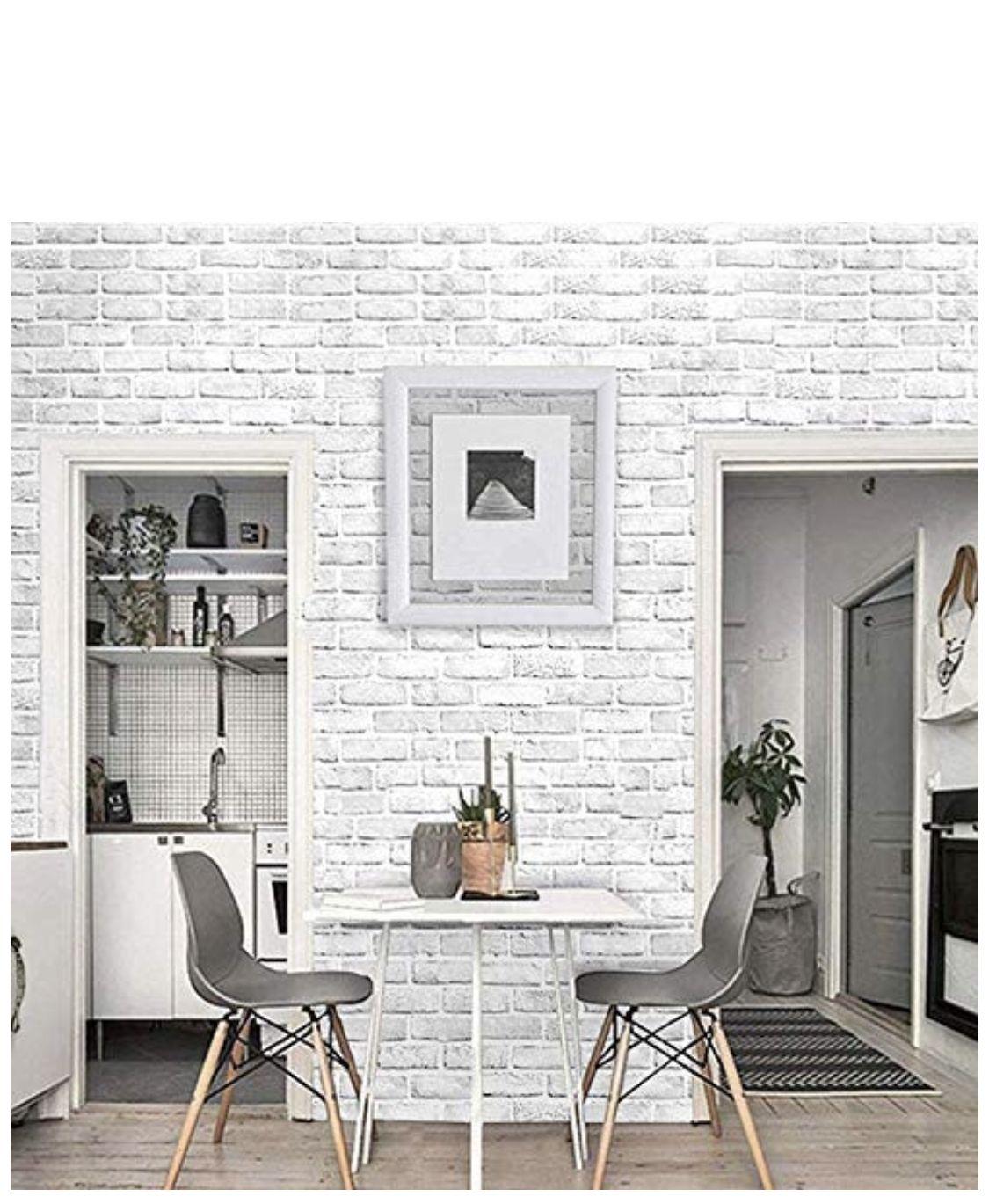 Gray Fake Brick Amazon White Brick Wallpaper Brick Wallpaper Peel And Stick White Brick Walls