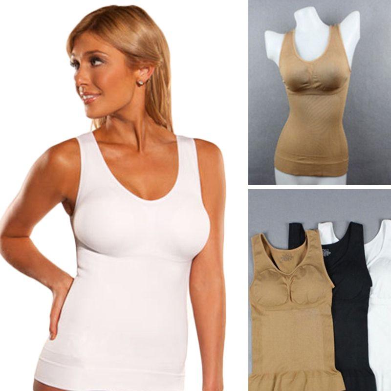 48b8e96ead4 2017 Plus Size Bra Cami Tank Top Women Body Shaper Removable Shaper  Underwear Slimming Vest Corset