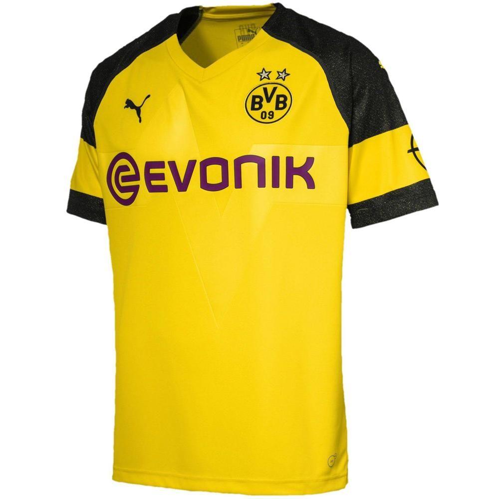 Puma Men S Bvb Dortmund 18 19 Home Jersey Black Yellow In 2020 Borussia Dortmund Dortmund Soccer Jersey
