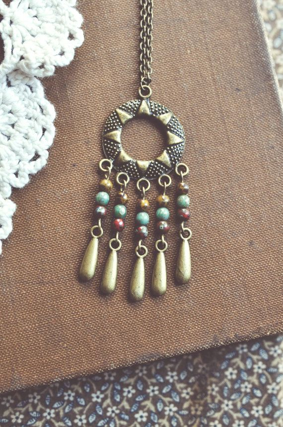 limited edition boho sun drop necklace. by bellehibou on Etsy