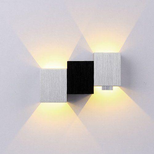 BEIYI R0743 Skye Aluminum 3W Modern Led Wall Light with Black White Cubic Body Up Down Ray of Light Warm White: Amazon.co.uk: Lighting