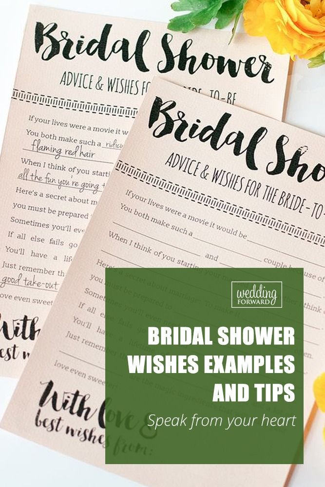bridal shower wishes tips and examples for card  wedding