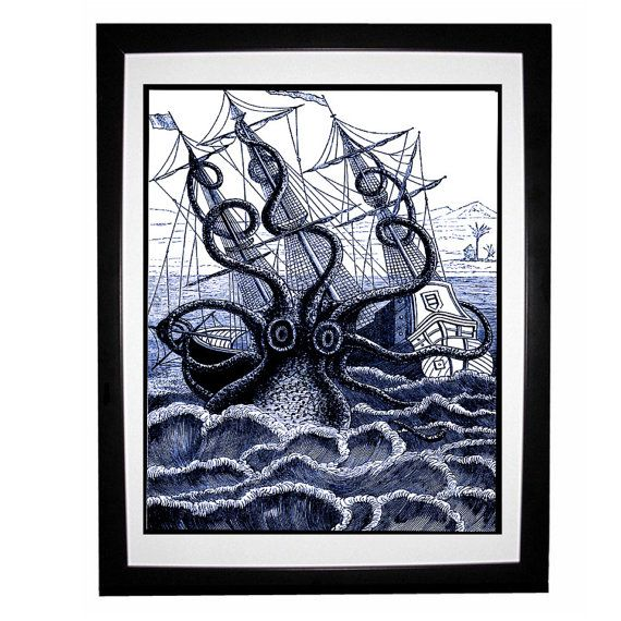 Giant Octopus Attacks Pirate Ship Blue Nautical Vintage Style Etsy Art Octopus Wall Art Vintage Style Art