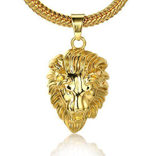 8d912a7bf8291 Halukakah ROARING LION Le Collier de lhomme en 18K Or Véritable et Doré  avec la Tête 3d du Lion et La Chaîne Gratuit de 30