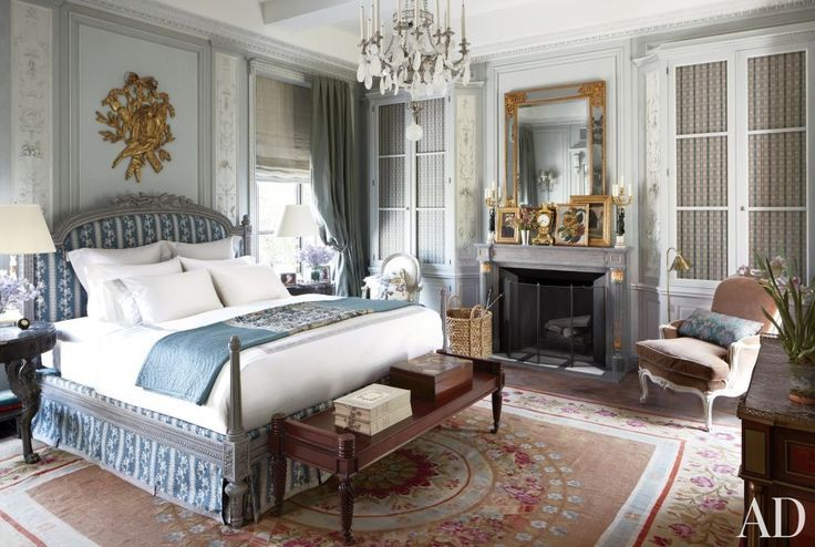 Impossibly elegant bedroom in New York with a delicate French