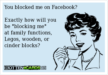 You Blocked Me On Facebook Exactly How Will You Be Blocking Me At Family Functions Legos Wooden Or Cinder B Bad Mood Quotes Funny Quotes Nature Quotes