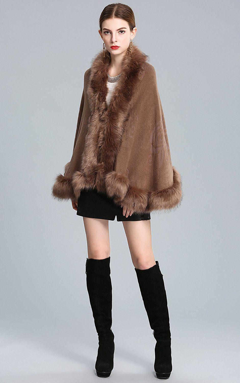 2799 caracilia women bridal faux fur shawl wraps cloak