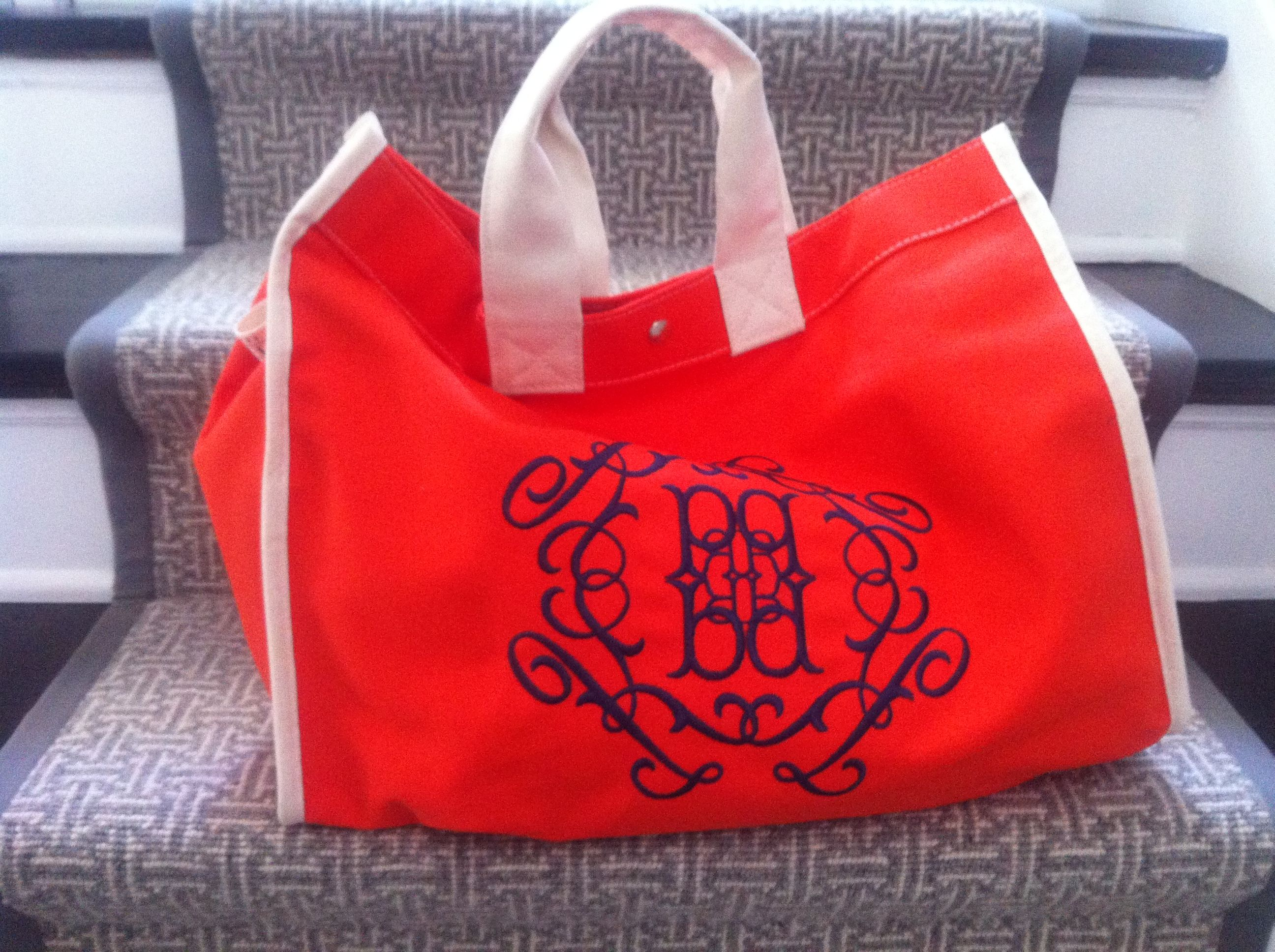 My new bag! Utility canvas bag with custom monogram. So much more fun to carry a bag with my initials.