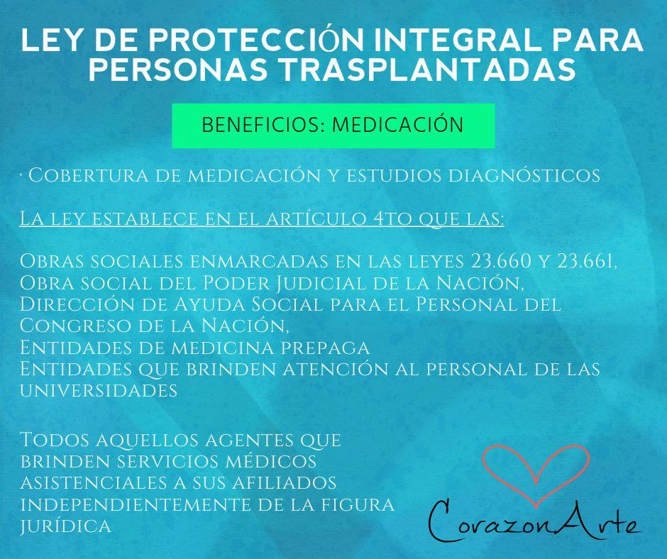 Ley de Protección Integral para Personas trasplantadas: Medicación