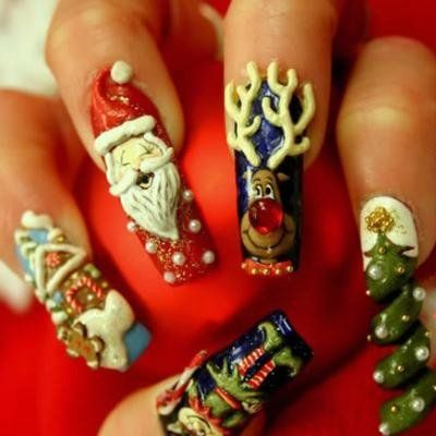 I Do Not Want These But Wow How Elaborate 3d Christmas Nails