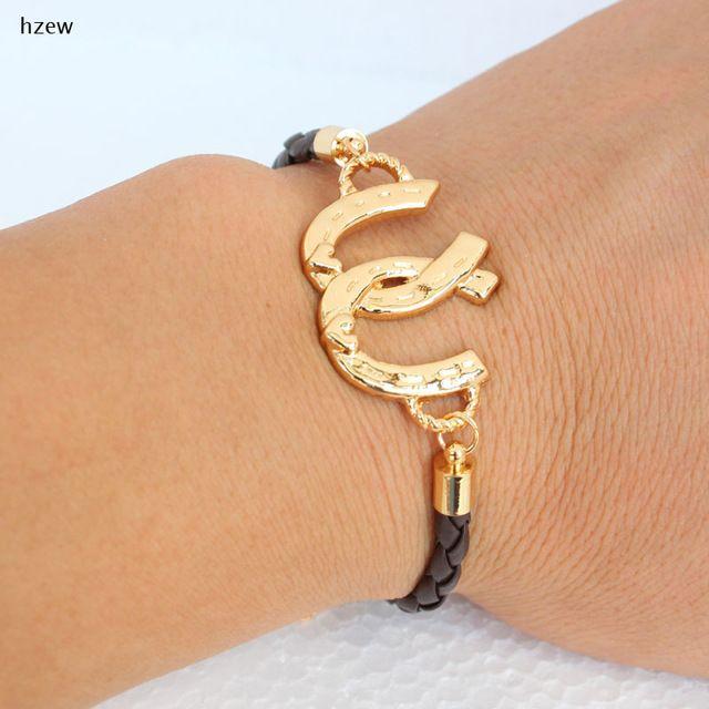 54a846da00e4 Hzew nueva llegada Doble Caballo Pezuña Herradura kc oro colores pulsera  pulseras regalo de las mujeres