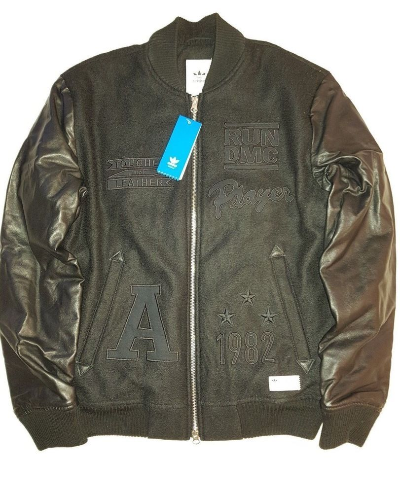 2895649167b0 ADIDAS ORIGINALS RUN DMC LEATHER BOMBER JACKET BLACKOUT SUPERSTAR COAT JMJ  SMALL  adidas  Bomber
