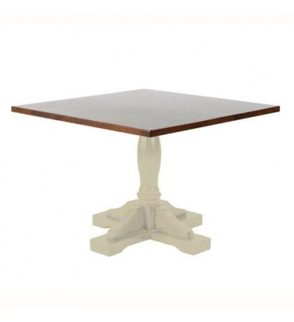 Traditional Square Pedestal Coffee Table Soft Oak With Painted Base