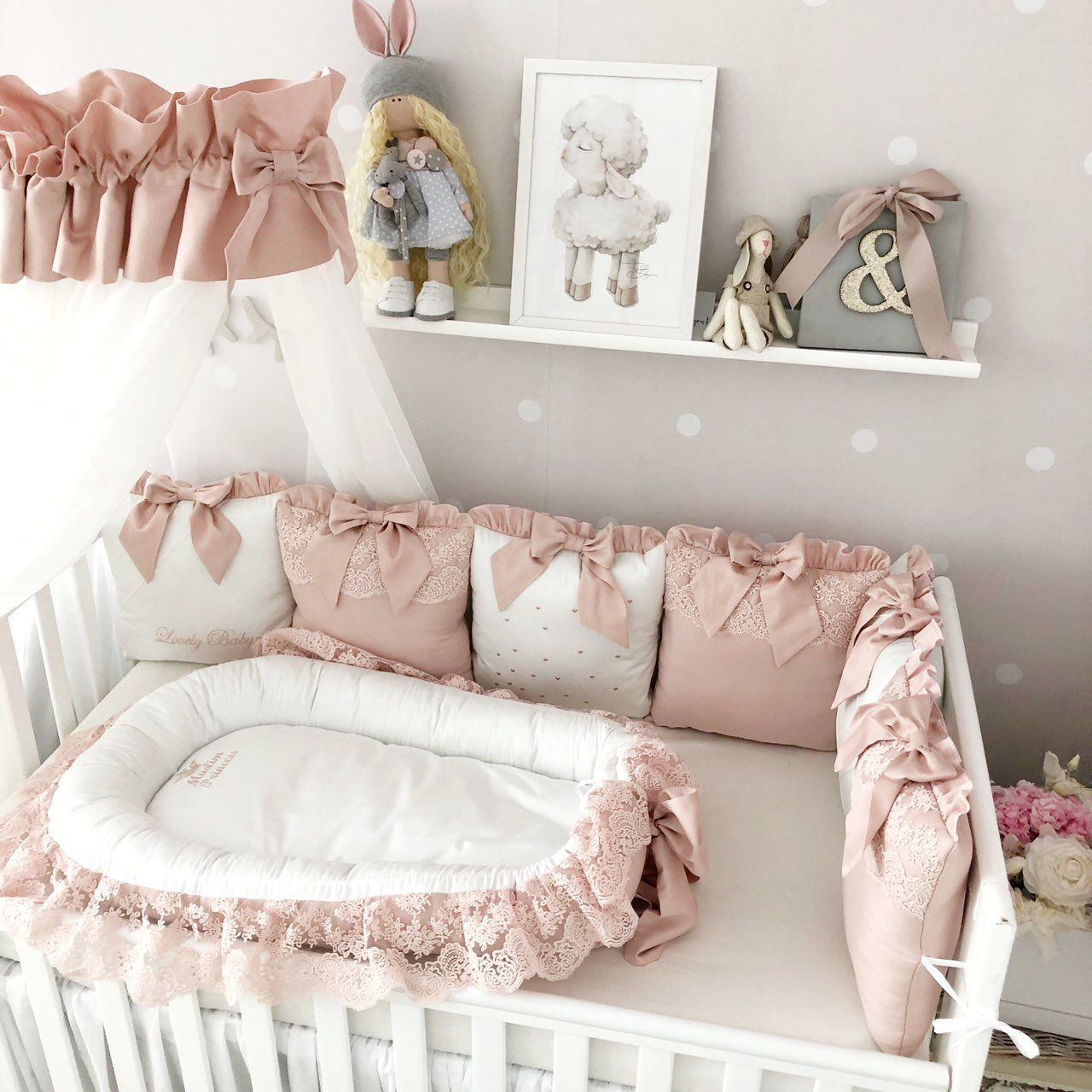 Baby Girl Bedding Crib Set Cot Bedding Set For Girl Personalized Baby Bedding Deluxe Baby Nest Baby Sleeper Bumper Pads Receiving Blanket Crib Bedding Girl Luxury Crib Bedding Cot Bedding Sets