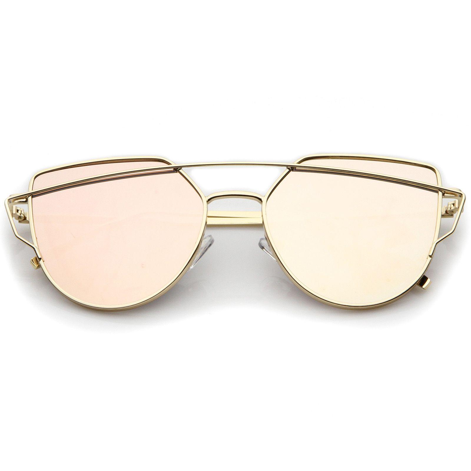 f3886600a2 Small Metal Frame Thin Temple Color Mirror Flat Lens Aviator Sunglasses  54mm  frame  sunglasses