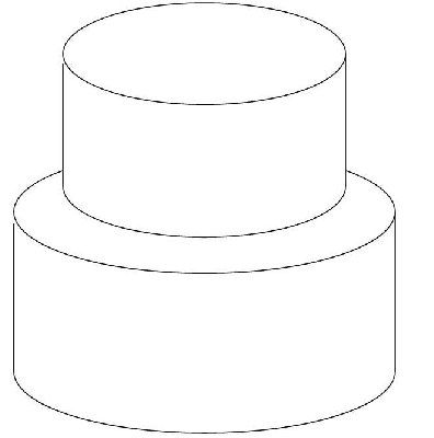 Design your own cake with this outline of a basic tiered cake Once