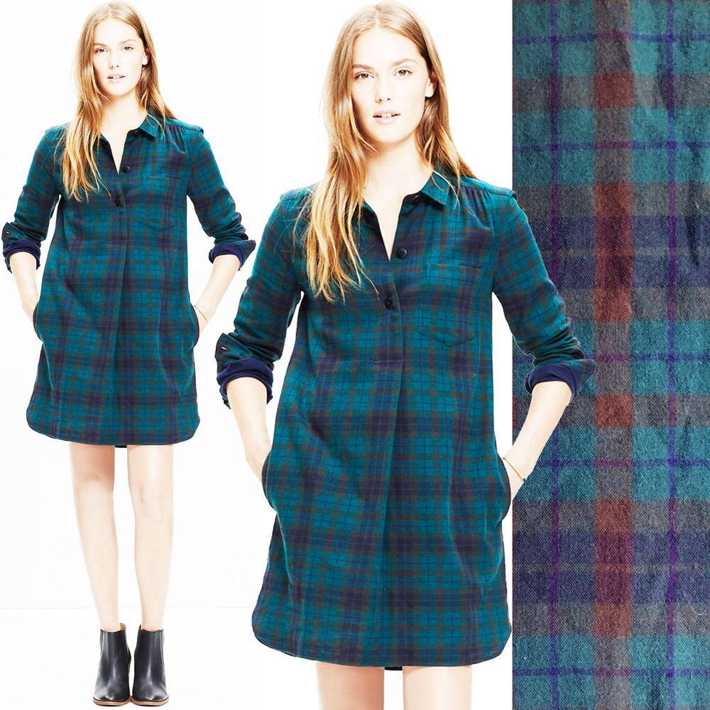 5e12983672 NWT MADEWELL Latitude Shirt Dress Alma Plaid Check High Low HI Lo Mini  JCrew XXS  Madewell  ShiftTunicShirtDress  Casual