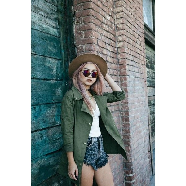 Army Green Tab Sleeve Loose Jacket ($80) ❤ liked on Polyvore featuring outerwear, jackets, green jacket, loose jacket and sleeve jacket