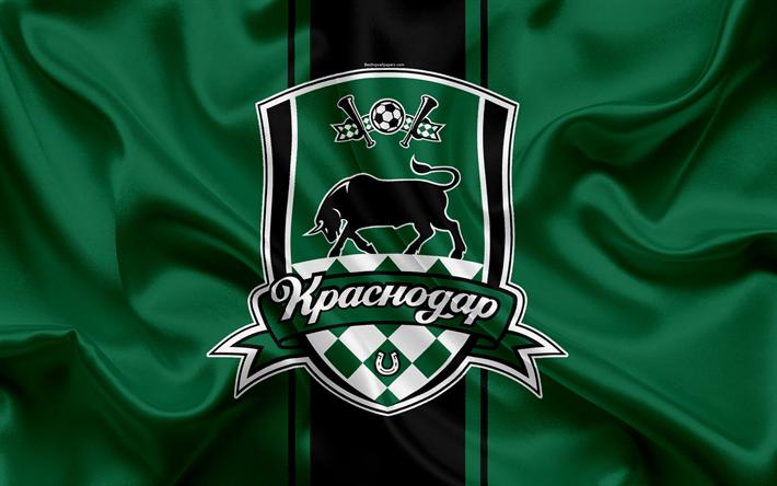 Hämta bilder FC Krasnodar, 4k, Ryska fotbollsklubb, logotyp, emblem, Rysk fotboll championship, Premier League, fotboll, Krasnodar, Ryssland, silk flag