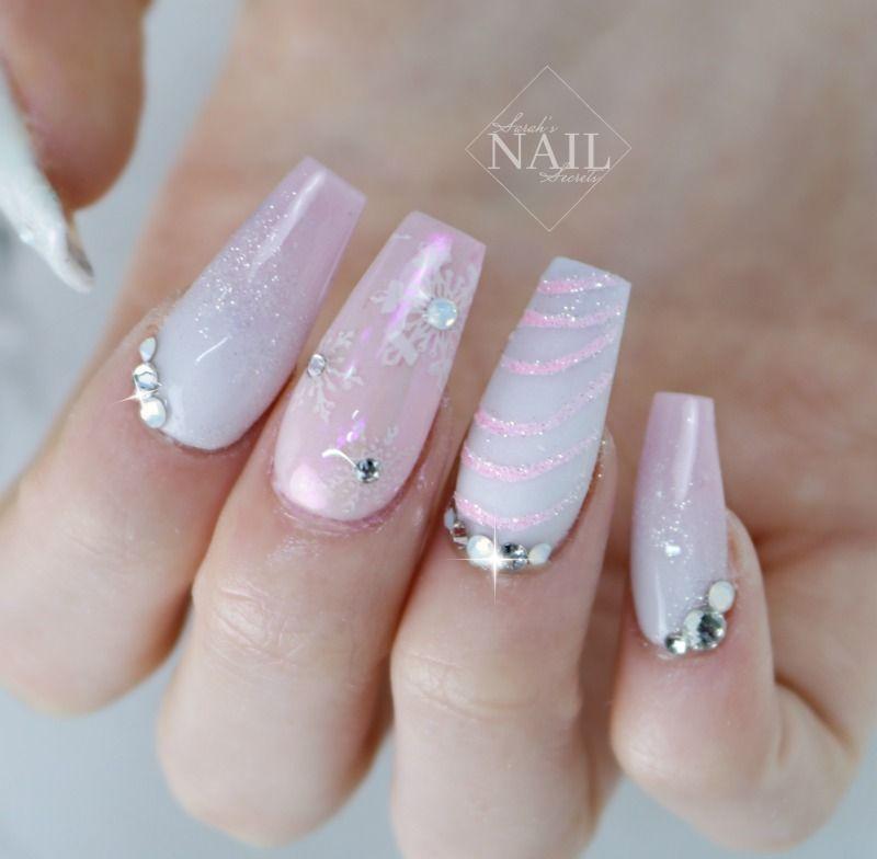 pink winter nails | HOLIDAYYYY NAILS | Pinterest | Winter nails and ...