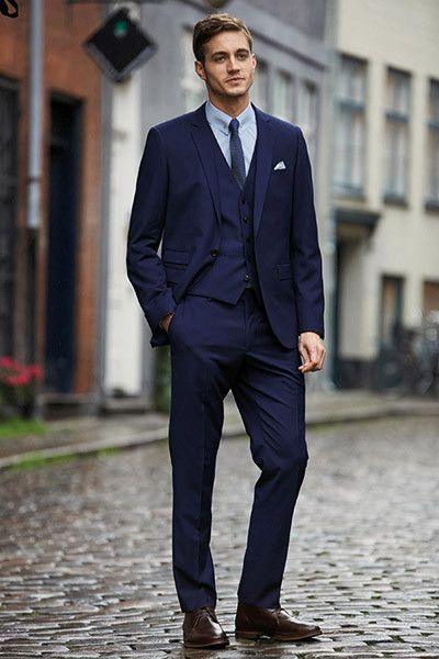 NEXT blue slim fit suit | Mens Style | Pinterest