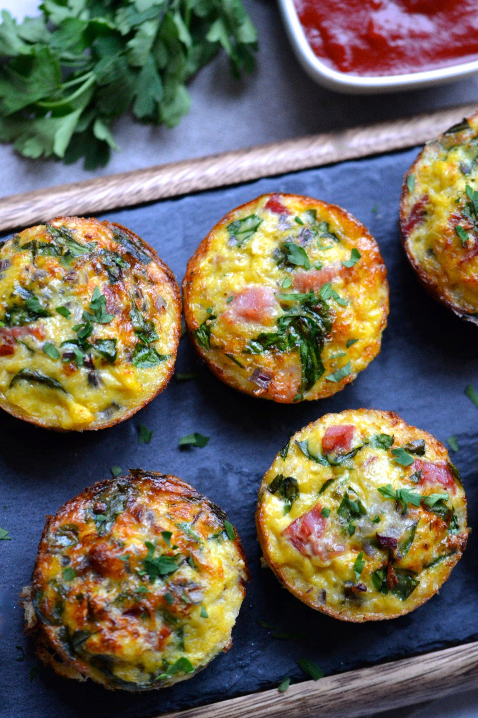 Ham Spinach Cauliflower Rice Breakfast Muffins