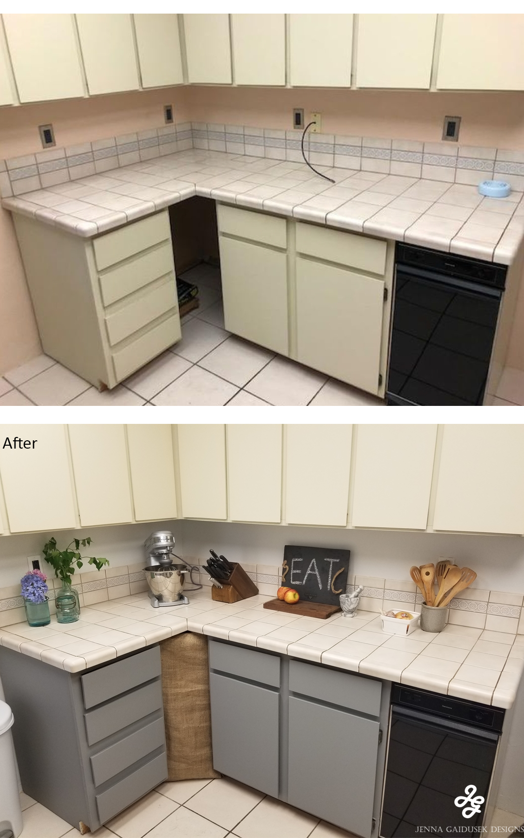 Add Peel And Stick Wallpaper On Cabinets Before And After Of Kitchen Updates On A Budget 200 Rental Kitchen Cheap Kitchen Cabinets Modern Farmhouse Kitchens