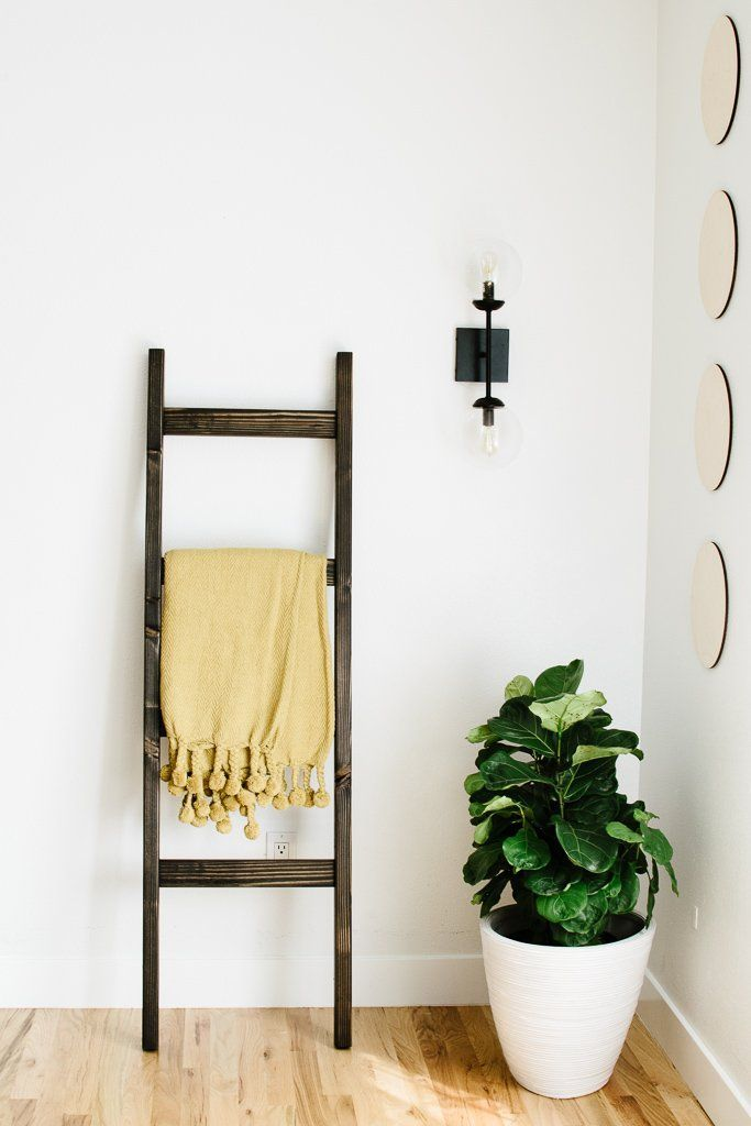Photo of Black Stained Wood Modern 5 ft Blanket Ladder