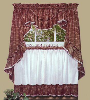 Sturbridge Burgundy Ruffled Print Tier Curtain Bandinho