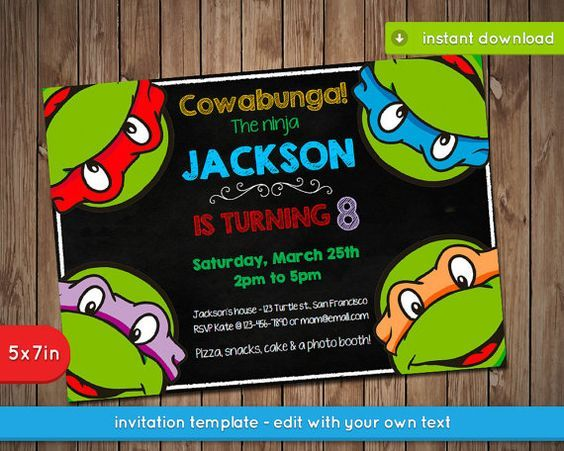 Witty image pertaining to ninja turtle birthday invitations printable