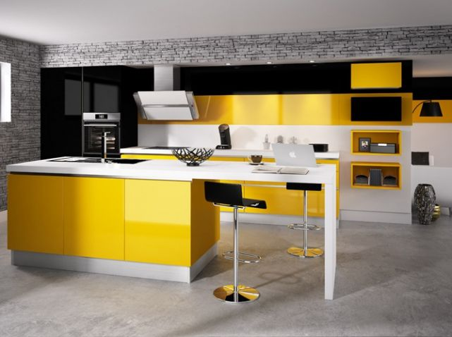 cuisine color e d couvrez toutes nos inspirations elle d coration cuisines color es jaune. Black Bedroom Furniture Sets. Home Design Ideas