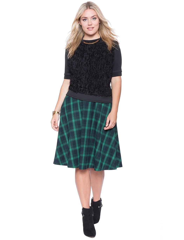 flannel midi skirt   women's plus size skirts   eloquii   cool